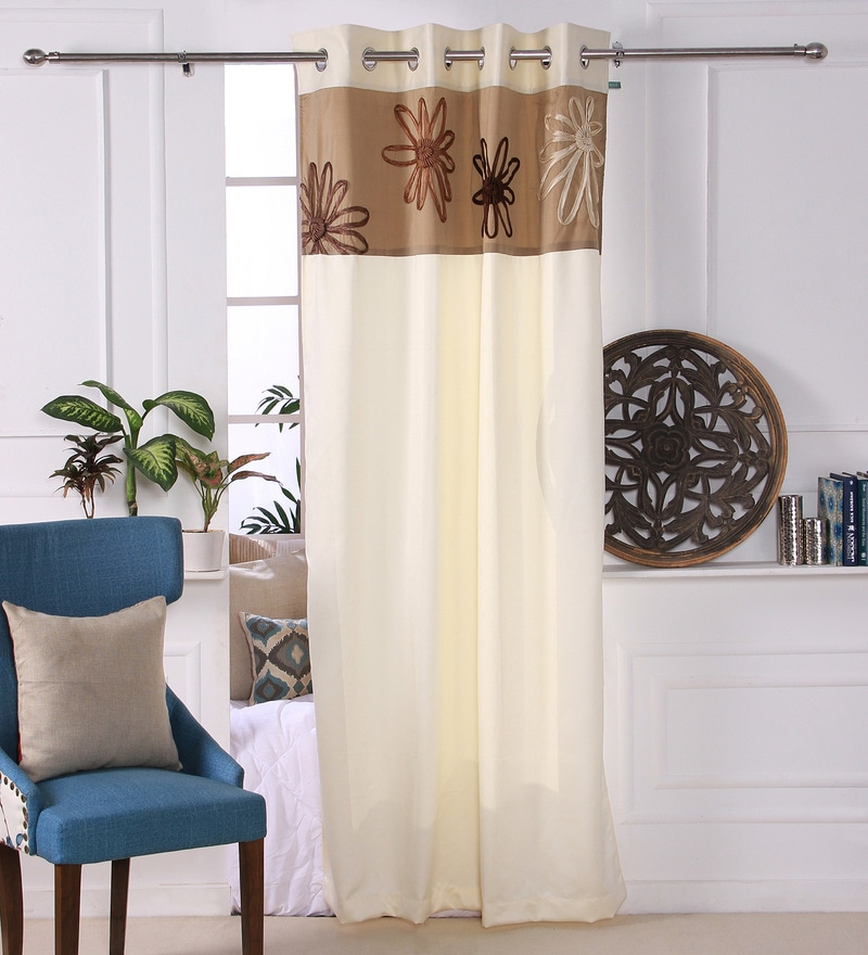 Ivory Polyester 53 x 84 Inch Satin Tape Black Out Door Curtains - Set of 2 by Eyda