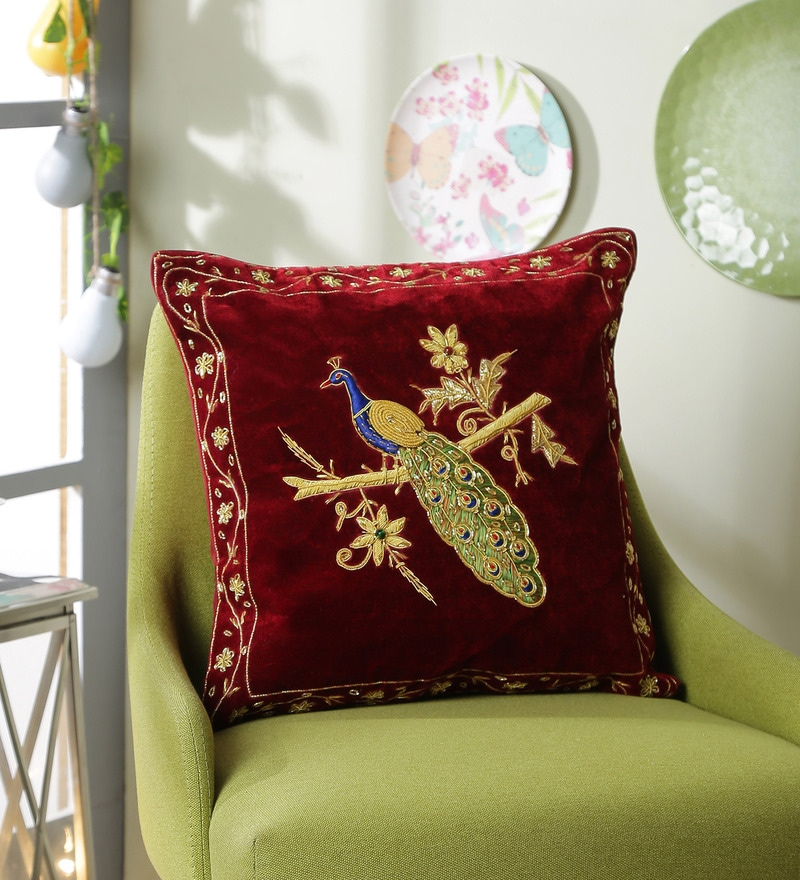 Mehroom Polyester 16 x 16 Inch Zari Peacock Cushion Cover by Eyda