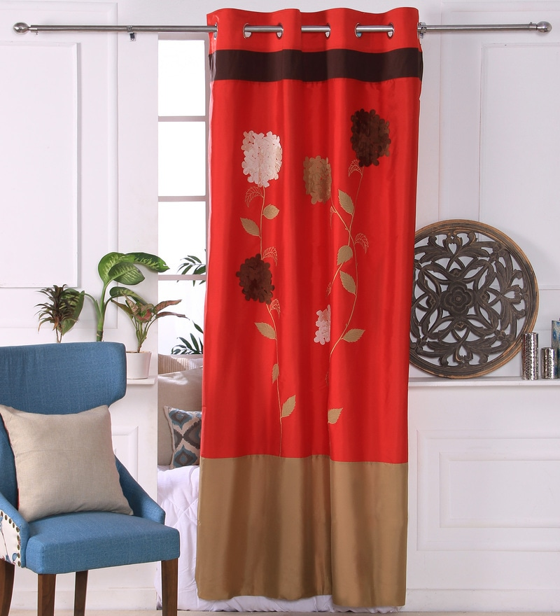 Red Polyester 53 x 84 Inch 3D Flower Door Curtains - Set of 2 by Eyda