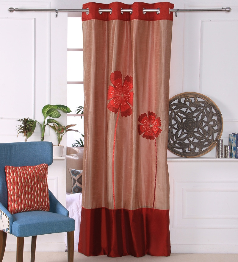 Red Polyester 53 x 84 Inch Bold Poppy Door Curtains - Set of 2 by Eyda