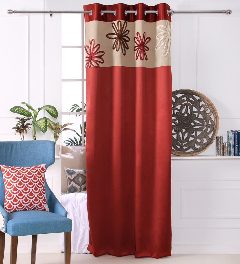 Red Polyester 53 x 84 Inch Satin Tape Black Out Door Curtains - Set of 2 by Eyda