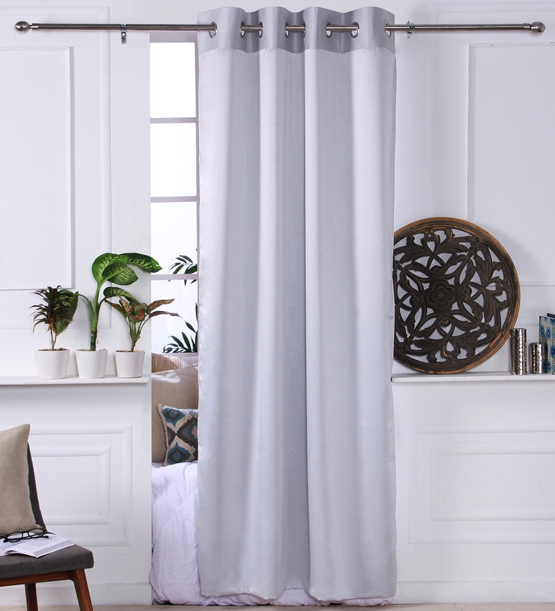 Silver Polyester 53 x 84 Inch Plain Black Out Door Curtains - Set of 2 by Eyda