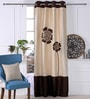 Eyda Brown & Ivory Polyester 53 x 84 Inch Bold Poppy Door Curtains - Set of 2