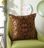 Choco Polyester 16 x 16 Inch Aari Sequin Cushion Cover by Eyda