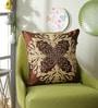Choco Polyester 16 x 16 Inch Lasar Cut Aari Cushion Cover by Eyda
