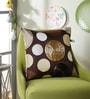 Choco Polyester 16 x 16 Inch New Ribbon Spot Cushion Cover by Eyda