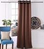 Choco Polyester 53 x 84 Inch Plain Black Out Door Curtains - Set of 2 by Eyda