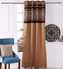 Eyda Gold Polyester 53 x 84 Inch Cut Work Black Out Door Curtains - Set of 2