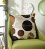 Ivory Polyester 16 x 16 Inch New Ribbon Spot Cushion Cover by Eyda