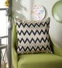 Ivory Polyester 16 x 16 Inch Swarn Wave Cushion Cover by Eyda