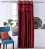 Eyda Plum Polyester 53 x 84 Inch Leaf Applique Door Curtains - Set of 2
