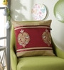 Red Polyester 16 x 16 Inch Damask Cushion Cover by Eyda