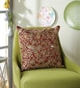 Red Polyester 16 x 16 Inch Swarn Peacock Cushion Cover by Eyda