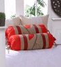 Red Polyester 16 x 30 Inch Leaf Trail Bolster Covers - Set of 2 by Eyda