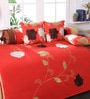 Red Polyester 3D Flower Diwan Set - Set of 6 by Eyda