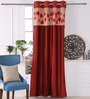 Red Polyester 53 x 84 Inch Leaf Applique Door Curtains - Set of 2 by Eyda