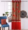 Red Polyester 53 x 84 Inch Leaf Trail Door Curtains - Set of 2 by Eyda