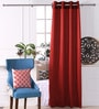 Red Polyester 53 x 84 Inch Plain Black Out Door Curtains - Set of 2 by Eyda