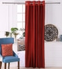Red Polyester 53 x 84 Inch Plain Taffeta Door Curtains - Set of 2 by Eyda