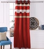 Eyda Red Polyester 53 x 84 Inch Ribbon Circle Black Out Door Curtains - Set of 2