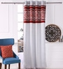 Silver Polyester 53 x 84 Inch Cut Work Black Out Door Curtains - Set of 2 by Eyda