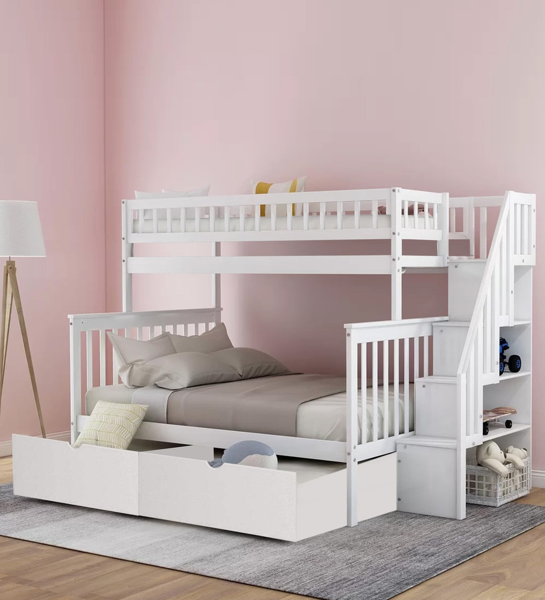 Buy Farmhouse Pine Wood Bunk Bed With Trundle Storage In White Casacraft By Pepperfry Online Trundle Bunk Beds Bunk Beds Kids Furniture Pepperfry Product
