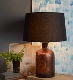 French vintage Black Cotton Table Lamp
