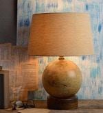 Globe Beige Cotton Table Lamp