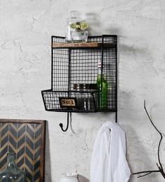 Fabuliv Black Iron And Wood 10.2 X 9.2 X 17 Inch Industrial Vintage Bath Shelf