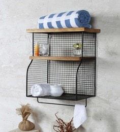 Fabuliv Black Iron And Wood 16.5 X 11.5 X 21.5 Inch Modern Farmhouse Bathroom Shelf