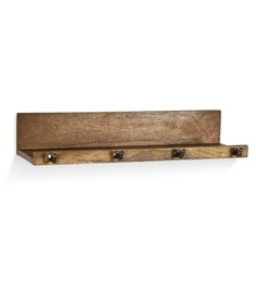 Fabuliv Brown Natural Wooden Ledge With Hooks Rack - 1649513