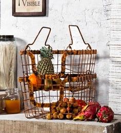 Fabuliv Orange Rustic Metal Baskets - Set Of 2
