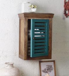 Mango Wood Brown Blue 2 Compartment Bathroom Cabinet L 15 W