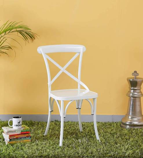 Fabian Metal Chair in White Color by Bohemiana