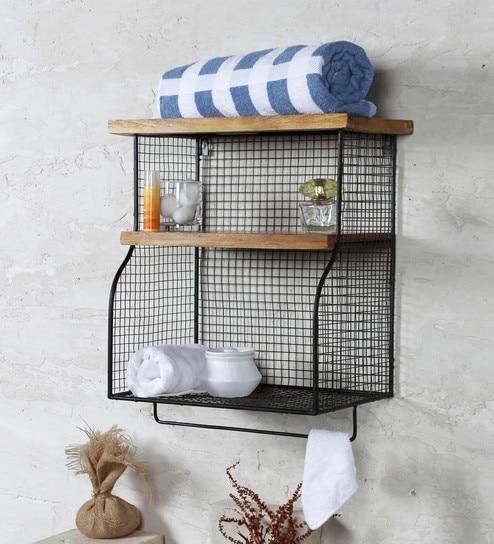 Fabuliv Black Iron And Wood 165 X 115 215 Inch Modern Farmhouse Bathroom Shelf