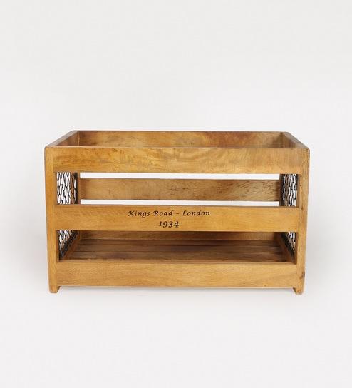 Fabuliv Brown Mango Wood Crate Large Basket