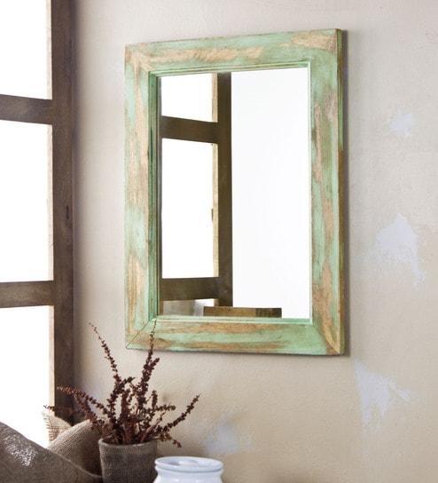 Fabuliv Distress Green Mango Wood 14 X 0 5 18 Inch Bathroom Mirror