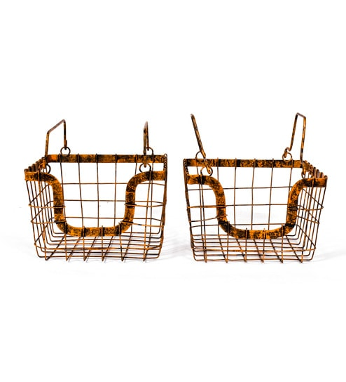 Fabuliv Orange Rustic Metal Baskets   Set Of 2