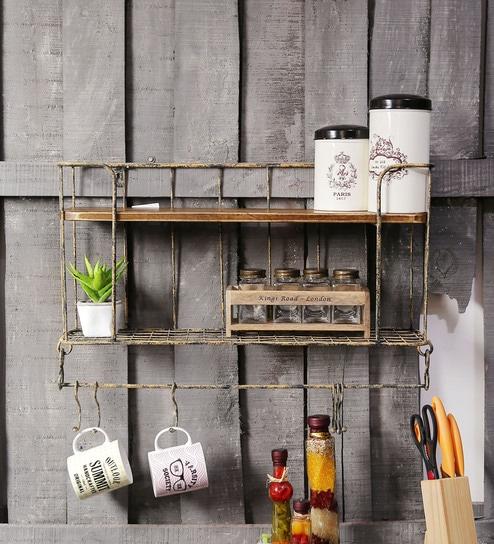 Fabuliv Persian Vintage Yellow & Walnut Metal & Mango Wood Kitchen Wall  Shelf with Utensil Hangers