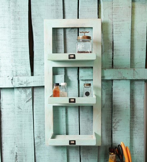 Pepperfry Kitchen Shelves: Buy Fabuliv Smoky Turquoise Mango Wood Kitchen Shelf With