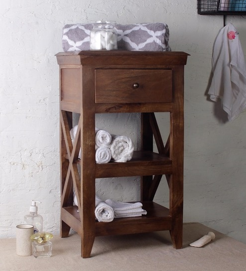Mango Wood Brown 3 Compartment Bathroom Cabinet L 18 W 14 5 H 28 Inches By Fabuliv