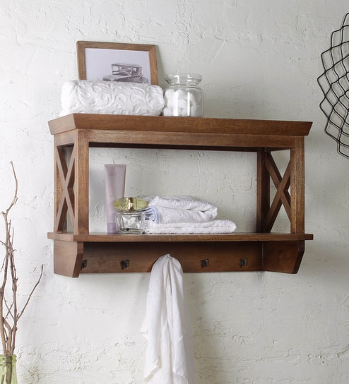 Mango Wood Bathroom Shelf In Natural