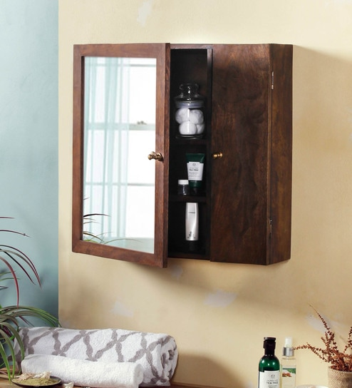 Pepperfry & Mango Wood Walnut Finish 6 Compartment Bathroom Cabinet (L: 22.5 W: 6.5 H: 22.5 Inches) by Fabuliv