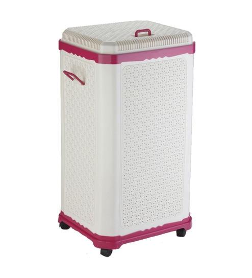 laundry cart wheels amazon basket on uk collapsible wire fancy box big hamper pink
