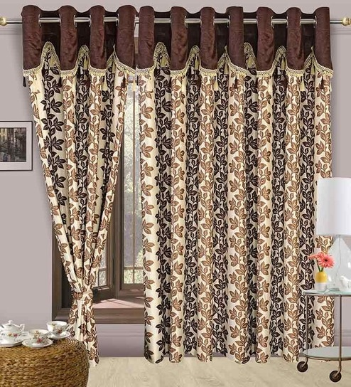 Buy Cortina Precious Brown Polyester Eyelet Window Curtain- Set of ...