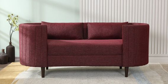 Fabiana 2 Seater Sofa in Maroon Colour by CasaCraft