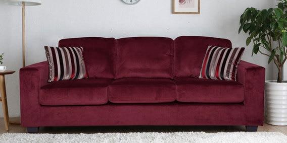 Fabio Three Seater Sofa In Burgundy Colour By Evok