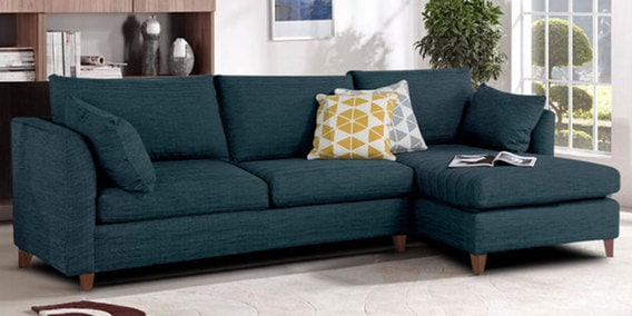 Buy Farina Lhs Sofa With Lounger In Dark Blue Colour By
