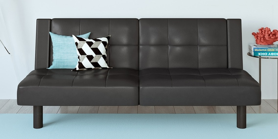 Faux Leather Sofa Bed In Black, Black Leather Sofa Bed With Storage