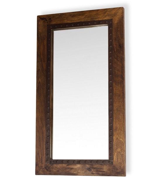 Mango Wood Rectangle Wall Mirror In, Dark Brown Wood Bathroom Mirror